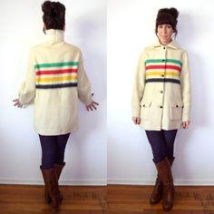 Vintage Hudson Bay Wool Stripe Shirt Jacket Point by TheVelvetMoon, $215.00