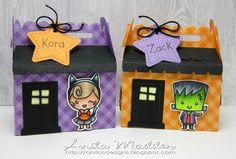 Halloween Treat Boxes (Just A Pigment Of My Imagination) Halloween Treat Boxes, Halloween Treats, Treat Holder, Candy Wrappers, Lawn Fawn, Goodie Bags, Color Card, Imagination, Lunch Box