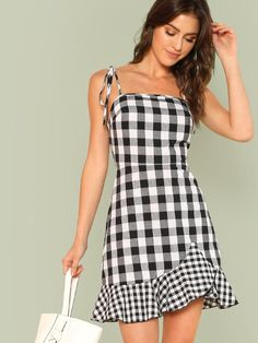 Ruffle Hem Plaid Cami Dress -SheIn(Sheinside)