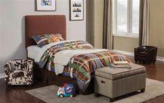 Dillon Transitional Chocolate Wood Fabric Kids Bedroom Set