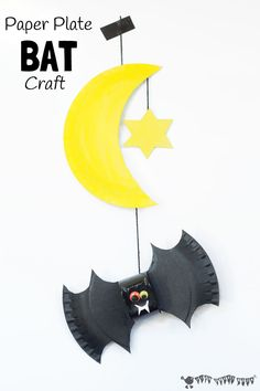 Squeak, let's go batty making bats! This 3D paper plate bat craft makes a great mobile for hanging in a kid's bedroom and is fun for a dark nights theme and Halloween too.
