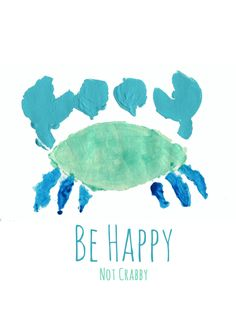 Beach House Art - Beach Art - Cute Art for Kids - Be Happy - Not Crabby -