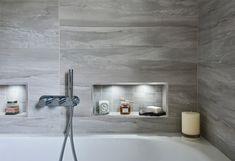Contemporary Family Bathroom – Hawk K&B Bathroom Niche, Shower Niche, Family Bathroom, Shower Enclosure, Contemporary Grey Bathrooms, Tile Covers, Grey Tiles, Elements Of Style, Simple Lines