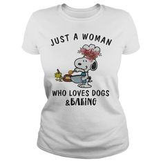 Snoopy Just A Woman Who Loves Dogs And Baking Shirt is perfect shirt for men and women. This shirt is designed with 100% cotton, more color and style: t-shirt, hoodie, sweater, tank top, longsleeve, youth tee. Great gift for you and your friend. They will love it. Click button bellow to see price and buy it! >>> https://omgshirts.net/tees/woman-loves-dogs-baking-shirt/