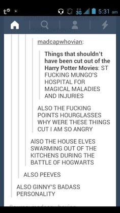 Things that should have been in the HP movies