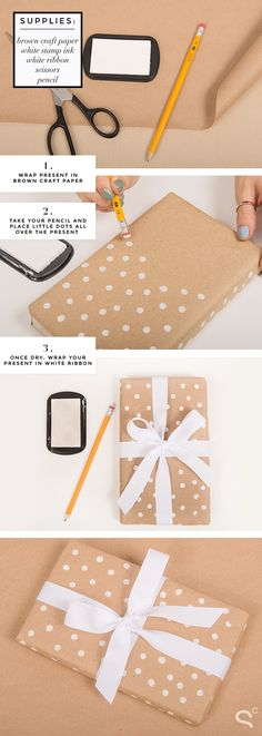 Easy DIY Polka Dot Wrapping Paper! | StyleCaster, 7 Days of Gift Wrapping Ideas | More ideas here: stylecaster.com/...