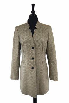 ed25346ddc Lafayette 148 Tan Black White Knit Women s Three Button Coat Size 8  598  Lafayette 148