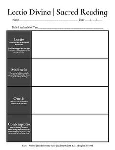 Lectio Divina | Sacred Reading: Graphic Organizer