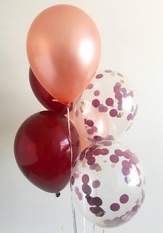 Rose Gold Confetti Balloons Rose Gold Burgundy Latex Balloons Rose Gold Bridal Shower Rose Gold Wedding Rose Gold Balloons Burgundy Balloons