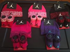 Infant Air Retro Jordan Hat Elephant Print Baby Booties Set 0-6 Months #Jordan #Beanie