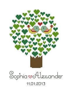 Personalized wedding cross stitch pattern, tree of life, birds needlepoint