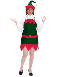 Check out Adult Elf Holiday Apron & Hat - Christmas Womens Costumes from Wholesale Halloween Costumes