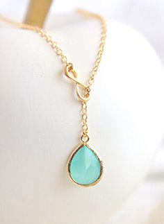 AquaTeadrop and Gold Infinity Lariat Necklace. Lariat Necklace. Mint Necklace. Gift. Bridesmaid Jewelry. Modern Necklace. Christmas Gift.