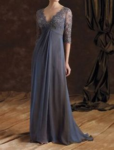 Custom Plus Size gray formal evening dress chiffon mother of the bridal dresses lace half sleeve on Etsy, $139.00