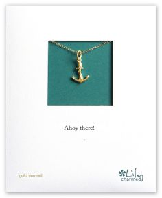 Gold Anchor Necklace with 'Ahoy there!' Message Card