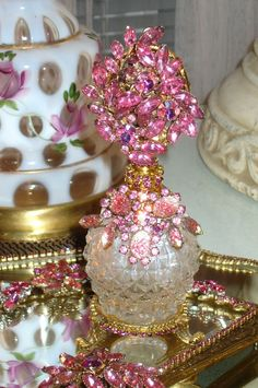 Bejeweled Vanity Set 3 Pieces Pink From The Collection  By Debbie Del Rosario-Weiss, Juliana,brush, comb, vintage, Clock,tray, mirror, perfume, antique, vintage, victorian, Sparkle,