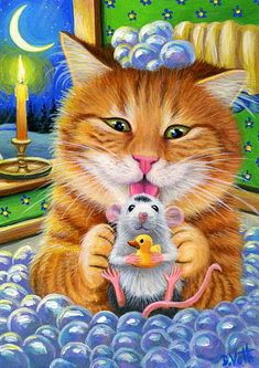 ACEO original cat mouse bubble bath tub winter night moon painting art | Art, Paintings | eBay!