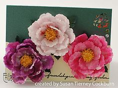 Peonies with Susan Tierney Cockburn and Ellen Hutson (082708) referencing Susan's book Paper Bouquet: Using Paper Punches to Create Beautiful Flowers. Related entries can be located by entering the author's name in the blog search box.