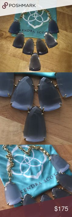 💯Auth Kendra Scott Slate Harlow StatementNecklace 💯Auth Kendra Scott Slate Harlow StatementNecklace- in excellent almost new condition as I only wore twice. Amazing cats eye slate Smokey grey color with gold.  ⛔️NO TRADES OR PAYPAL⛔️🚨NO LOWBALL OFFERS🚨✨Willing to bundle so ask, ALL OFFERS DONE USING THE BUTTON ✨🎯REMEMBER POSH TAKES 20%🎯⚠️Ask all questions as sales are FINAL⚠️ Kendra Scott Jewelry Necklaces