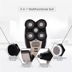 5 in 1 Rechargeable Electric Shaver Five Floating Heads Razors Hair Clipper Nose Ear Hair Trimmer Men Facial Cleaning Brush How To Trim Mustache, Head Shaver, Shaving Machine, Nose Hair Trimmer, Best Shave, Electric Razor, Facial Cleansing Brush, Grooming Kit, Cleanser
