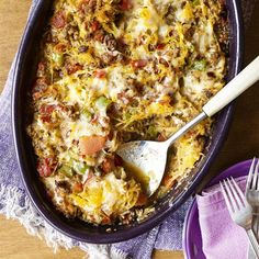 """Baked Spaghetti Squash with Beef and Veggies   """"I have an 8-year-old meat-and-potatoes son and a no-veggies husband and they both loved it!"""" – Rachael W"""