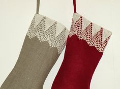 Christmas stocking Set of 3 Personalized by CloserToNature on Etsy