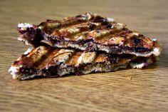 PBJ Panini -  2 slices cinnamon raisin swirl bread 2 tablespoons all-natural peanut butter 1 tablespoon red raspberry preserves