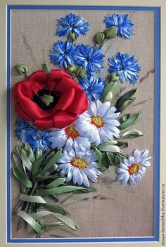 Meadow flowers #ribbonEmbroidery