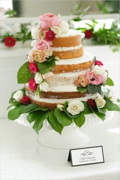 naked cake with floral cascade