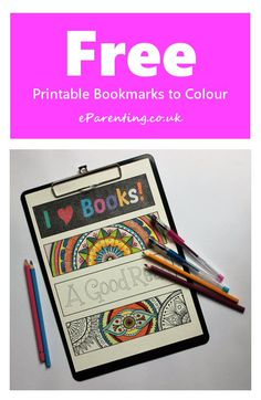 Free printable Bookmarks which you can colour in to give yourself a unique set of bookmarks. #PrintableBookmarks #Bookmarks #FreePrintables