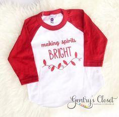 Making Spirits Bright Christmas Shirt. Cute Christmas Clothes for baby, toddler child. Holiday Santa shirt. Red and white baseball raglan.