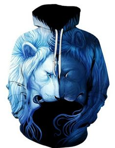c585635dc24f Day   Night Lion Unisex Hoodie - Shop Graphic All Over Print Hoodies for  Men and Women. Our Cool Hoodies Include Space Hoodies