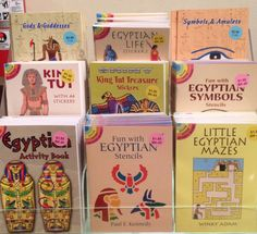 Stocking Stuffers! Egyptian Life Stickers; Egyptian Gods & Goddesses; Tattoos; Fun with Egyptian Symbols Stencil; Egyptian Activity Book; Little Egyptian Mazes; King Tut Treasure Stickers; Tut: With 44 Stickers; Shiny King Tut Treasure Stickers. $1.50 each (BK-38 through 46)