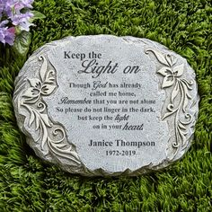 Your Light Shines Memorial Garden Stone A Personal Creations Exclusive! Let loving memories of the d Memorial Garden Stones, Garden Stepping Stones, Memorial Flowers, Glow Garden, Memorial Markers, Grave Decorations, Keep The Lights On, Memorial Gifts, Memorial Ideas