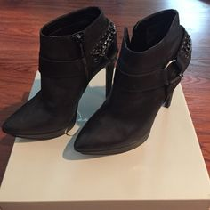 Jessica Simpson chain ankle  booties Black platform boots with edgy metal chains Jessica Simpson Shoes Ankle Boots & Booties
