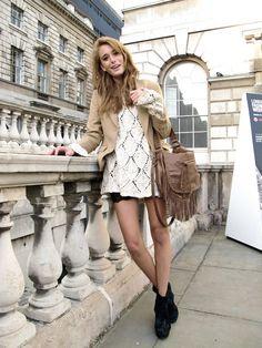 lace top & khaki blazer