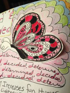doodle, art journaling, art journal, butterfly, pink, zendoodle