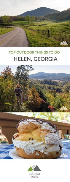 Find a great outdoor adventure in North Georgia's German alpine village. Plan a great Helen getaway with our top places to stay and things to do: hike, bike, zip line, camp, and paddle. And relax in a cozy cabin, and enjoy some great dining options, too. #hiking #atlanta #georgia #travel #outdoors #adventure #outdoortravel