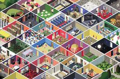 """Paris-based illustrator """"Théo Guignard"""":http://theo-guignard.tumblr.com/ has illustrated 14 vibrant and intricately detailed mazes for children's book, _Labyrinth_. Published by Wide Eyed Editions, the book travels through all sorts of scenes, from deep sea creatures to a mansion full of weird and wonderful rooms, each with their own illustrative style."""