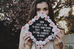 How lucky I am to have something that makes saying goodbye so hard college graduation cap flower grad cap. Photo by Alyssa Dubois Photography Teacher Graduation Cap, Funny Graduation Caps, Graduation Cap Designs, Graduation Cap Decoration, Graduation Pictures, College Graduation, Disney Grad Caps, Graduation Photography, Graduation Photoshoot