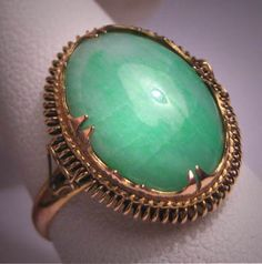Antique Green Jade Ring Vintage Victorian 14K by AawsombleiJewelry, $2450.00