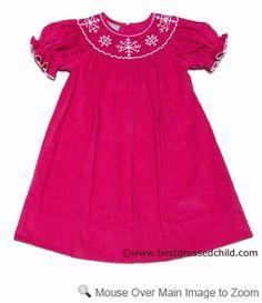 Anavini Velani Classics Girls Hot Pink Corduroy Bishop Dress - Smocked Snowflakes