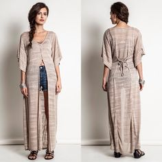 """""""Dazzle"""" Asymmetrical Maxi Top Maxi top with a tie back and a button up front. Available in mocha or silver. This listing is for the MOCHA. Brand new. True to size. NO TRADES. Bare Anthology Tops Blouses"""