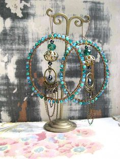 Mystic Ocean Earrings Glass Beaded Large Hoops by AllThingsPretty, $75.00
