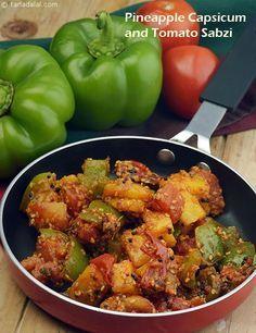 Pineapple, Capsicum and Tomato Sabzi recipe   Saatvik Recipes   by Tarla Dalal   Tarladalal.com   #1579