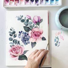 pink watercolor flowers