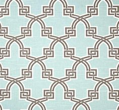 Modern Aqua Brown Geometric Fabric By The Yard Premium Wide Cotton Duck Drapery Fabric Pillows Aqua Home Decor Fabric Craft Fabric