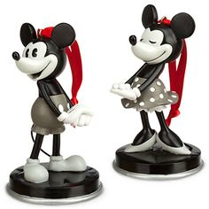 Disney Mickey and Minnie Mouse Ornament Set, Revisit the golden era of Disney animation, in their original look from the roaring Disney Christmas Ornaments, Mickey Christmas, Christmas Tree, Hallmark Ornaments, Mickey Minnie Mouse, Disney Mickey, Disney Figurines, Disney Traditions, Vintage Mickey