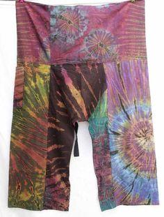 Patchwork Tie Dye Thai Fisherman Wrap Yoga Pants Gypsy Boho Hippie Unisex P2927 | eBay