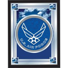 [[start tab]] Description The perfect way to show your US Air Force pride, our logo mirror displays the US Air Force symbols with a style that fits any setting. With it's simple but elegant design, co